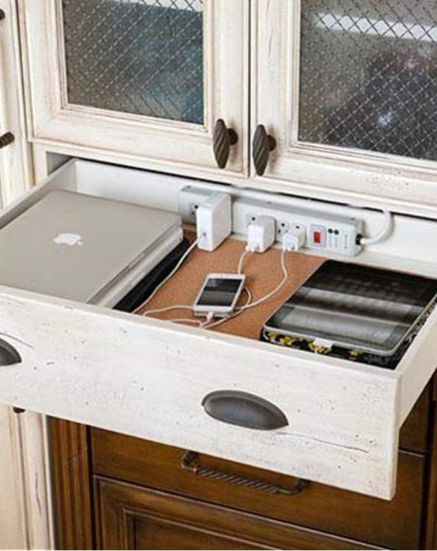 Charging Station Storage Built Inside A Buffet Or China Cabinet