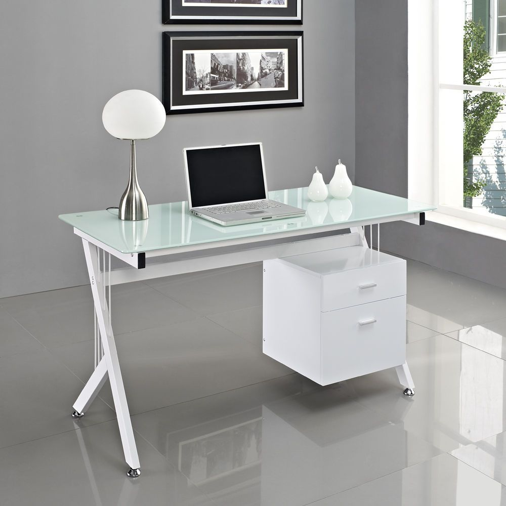 Modern office table with glass top - 20 Modern Desk Ideas For Your Home Office