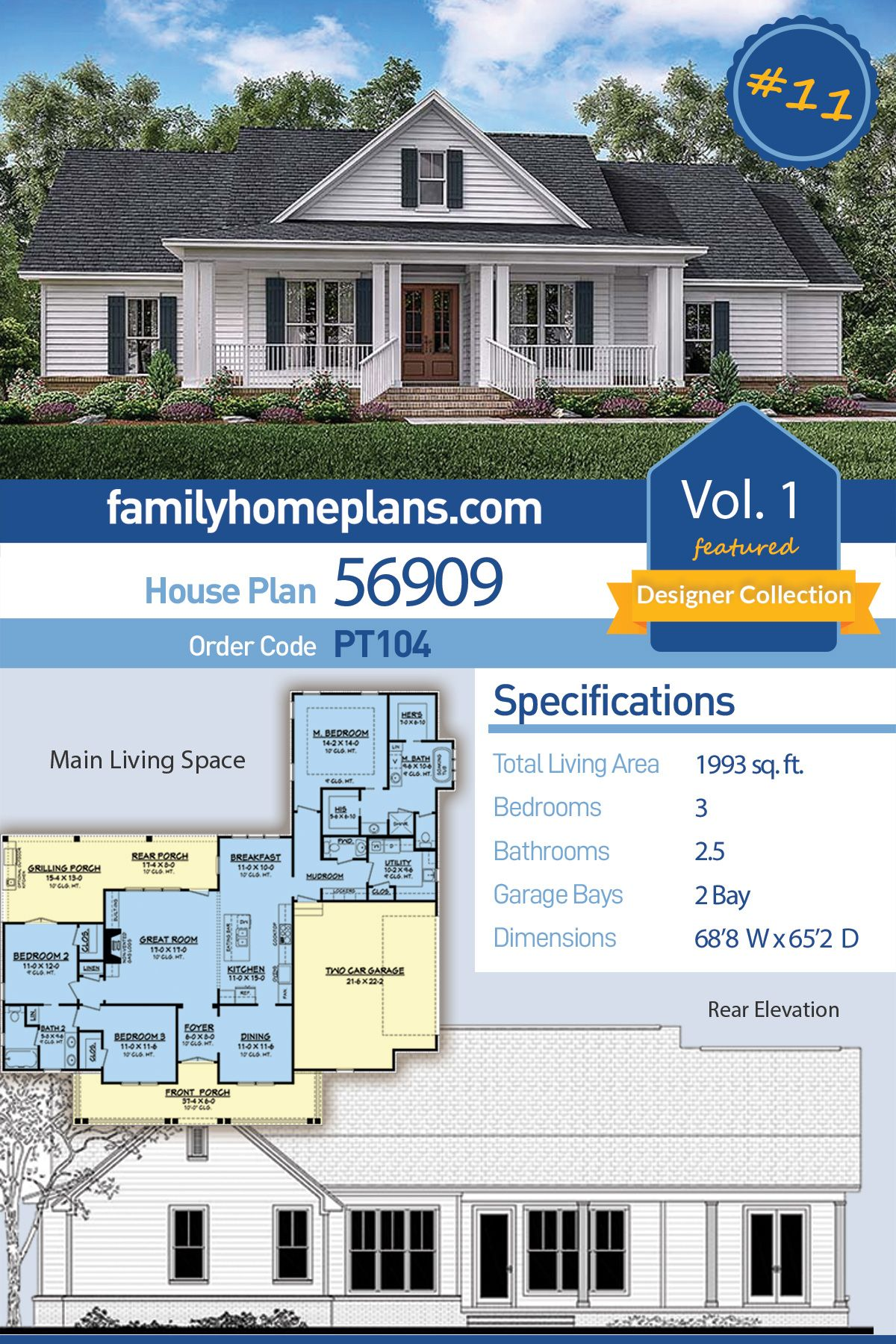 Traditional Style House Plan 56909 With 3 Bed 3 Bath 2 Car Garage Porch House Plans House Plans Family House Plans