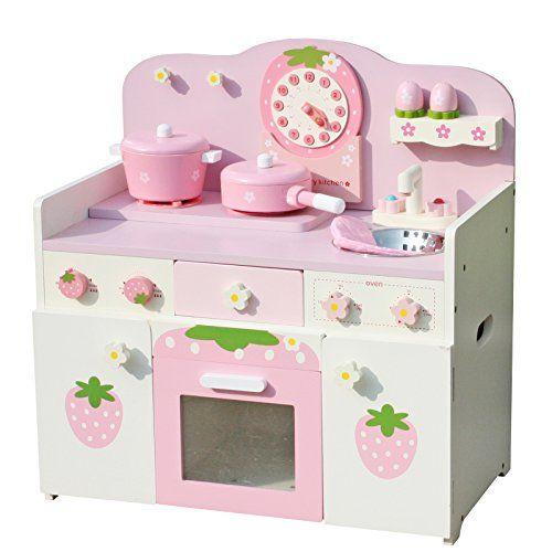 Timy Wooden Play Kitchen Strawberry Playfully Delicious Pretend Playset With Accessories Awesome Little Cute Toy