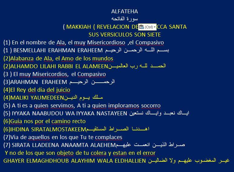 Alfateha Makkiah Revelacion De La Mecca Santa Sus Versiculos Son Siete Dating