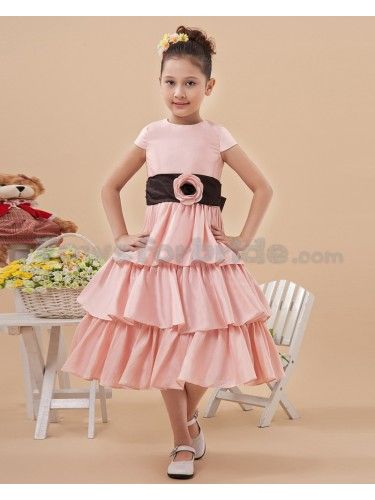 6957da3a5e Satin Jewel Neckline Knee-Length A-Line Flower Girl Dress with Flower and  Cap-Sleeves