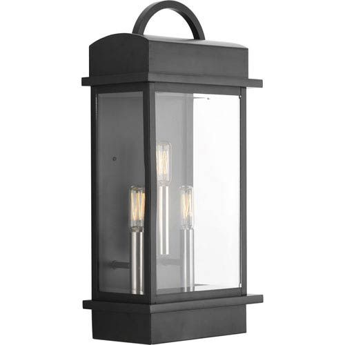 Progress Lighting Outdoor Wall Sconce Progress lighting p560003 031 santee black three light outdoor wall p560003 031 santee black three light outdoor wall mount progress lighting wall workwithnaturefo