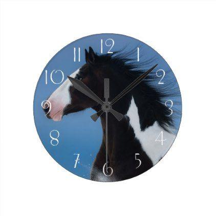 American Paint Horse Round Clock White Gifts Elegant Diy Gift