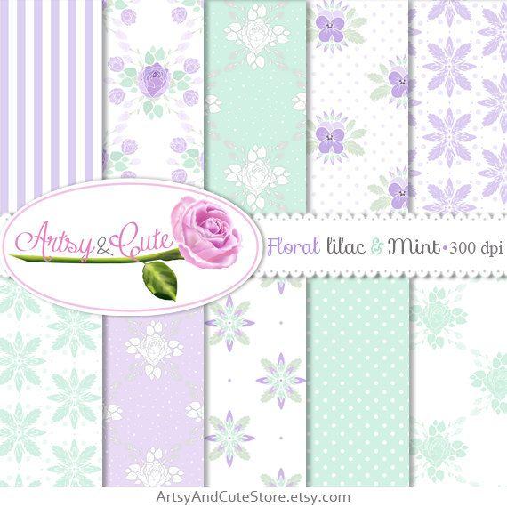 Floral Digital Paper Shabby Chic Polkadot by ArtsyAndCuteStore #shabbychic #digital #paper #roses #pastel #mint #lilac