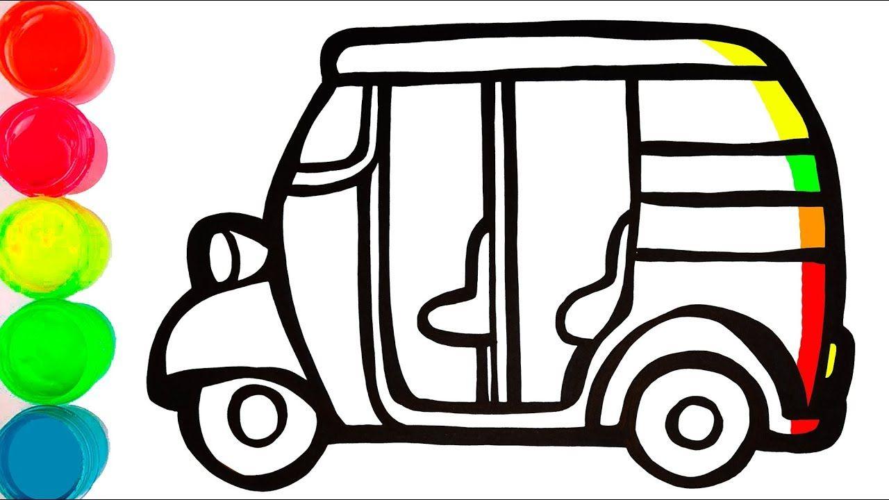 Auto Rickshaw Warna Warni Belajar Menggambar Dan Mewarnai