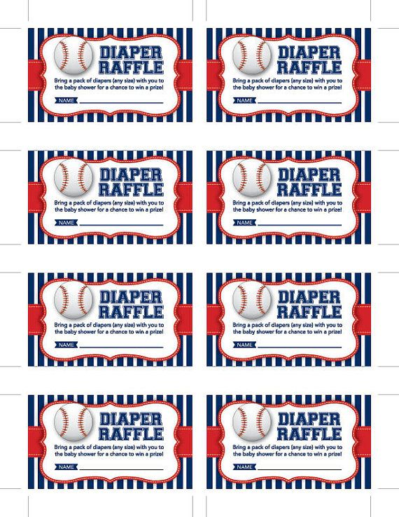 Instant Download Baseball Diaper Raffle Cards by ...