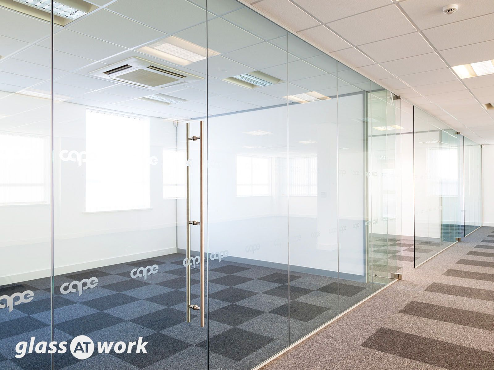 Multiple Glass Offices With Glass Partitioning