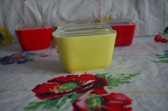 RESERVED FOR SARA: Pyrex Yellow Daisy set by KitschenSpectacular