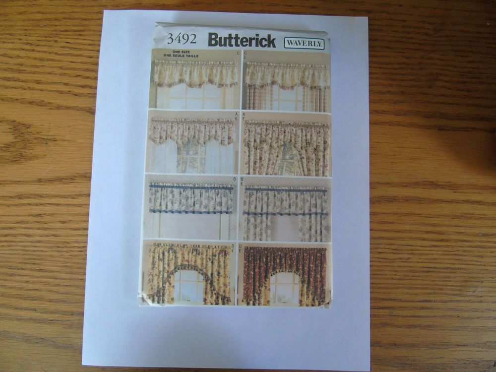"Butterick 3492 WAVERLY  ""Valances & Drapes"" One Size Sewing Pattern #Butterick"