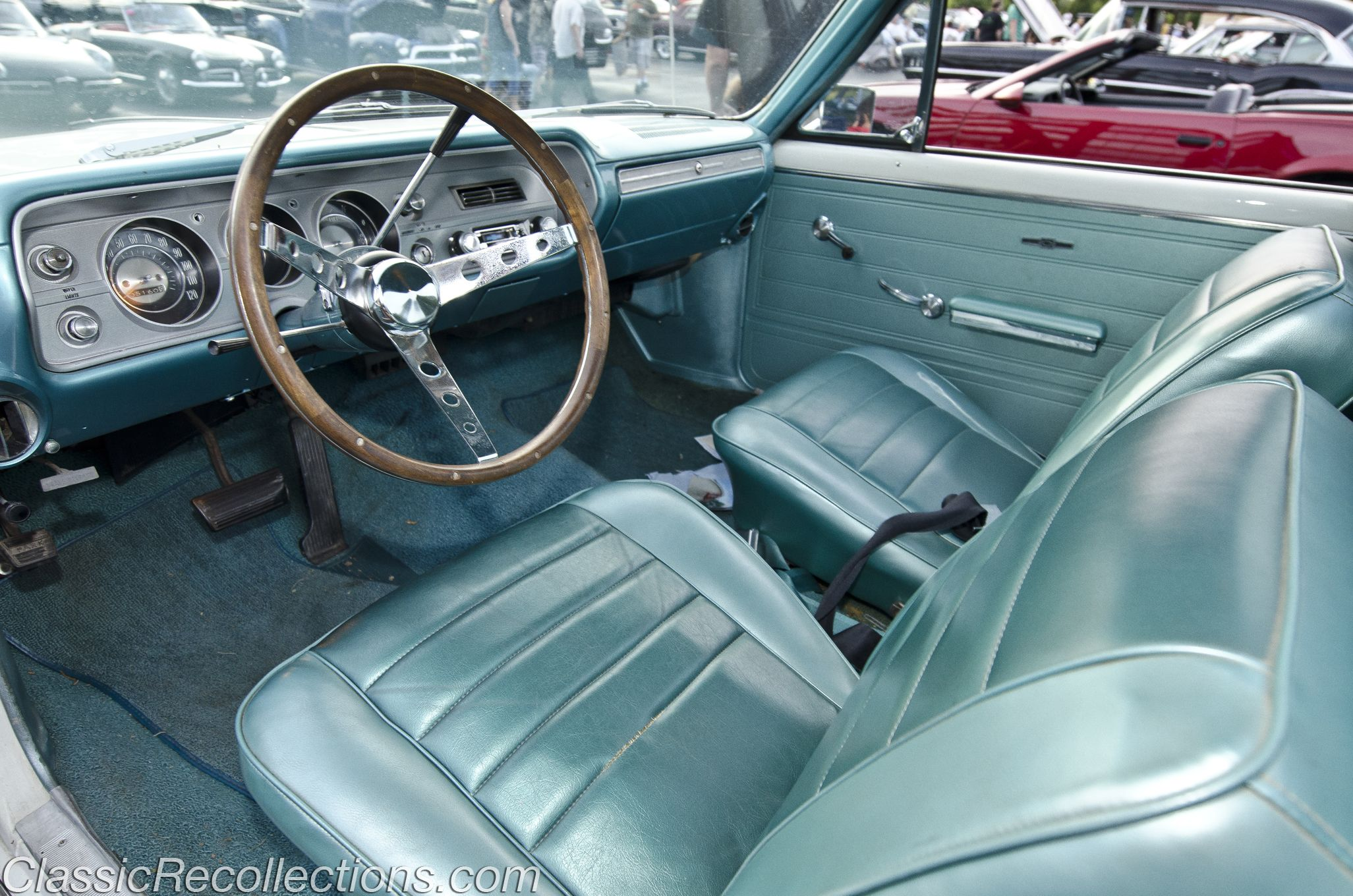 hight resolution of the interior on this original 1965 chevrolet el camino is marina blue