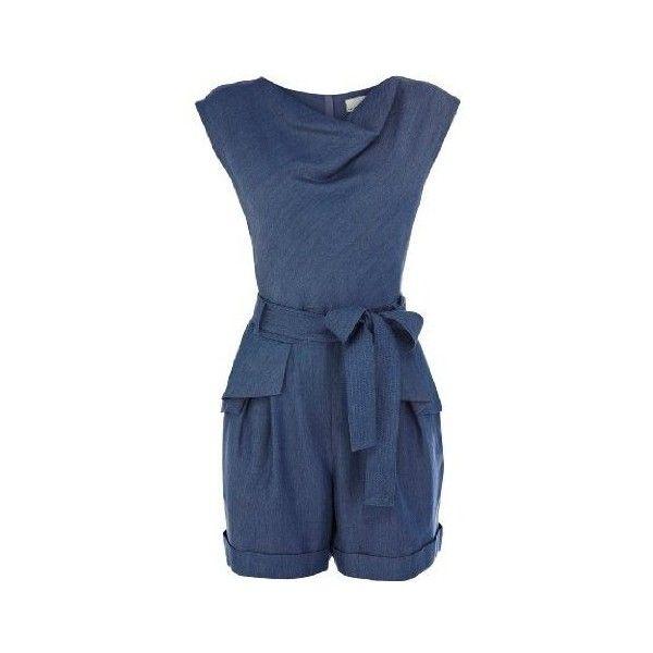 Karen Millen Tencel Denim Romper (€100) ❤ liked on Polyvore featuring jumpsuits, rompers, blue romper, blue jumpsuit, jumpsuits & rompers, denim romper and peplum romper