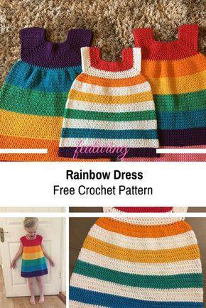 Simple And Cute Rainbow Dress [Free Pattern #crochetdress