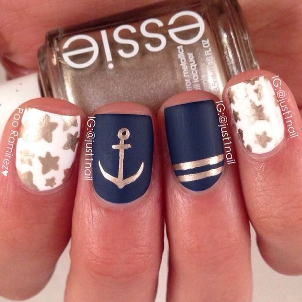 nautical nail art nails pinterest n gel nagellack und fingern gel. Black Bedroom Furniture Sets. Home Design Ideas