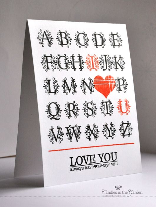 handmade love/Valentine card from ©Candles in the Garden. Clearly Besotted May 2014 Release. Monogrammed. ... whole monogram alphabet in black with the I and U in red and a red heart over the O ... luv how it is perfectly placed ... great card!