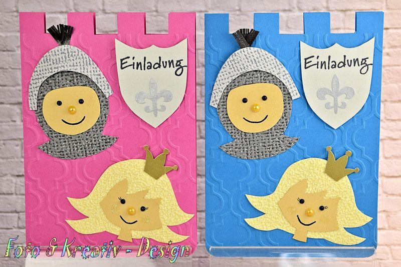 Einladungskarten   Ritter / Prinzessin Einladung Set / 2 Stk.   Einu2026