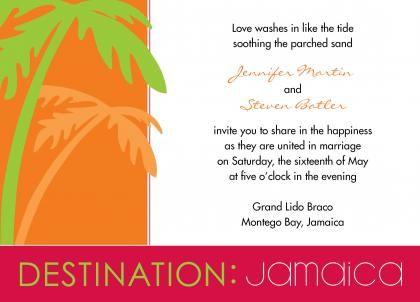 Wedding Invitations Jamaica Destination Jamaica Wedding