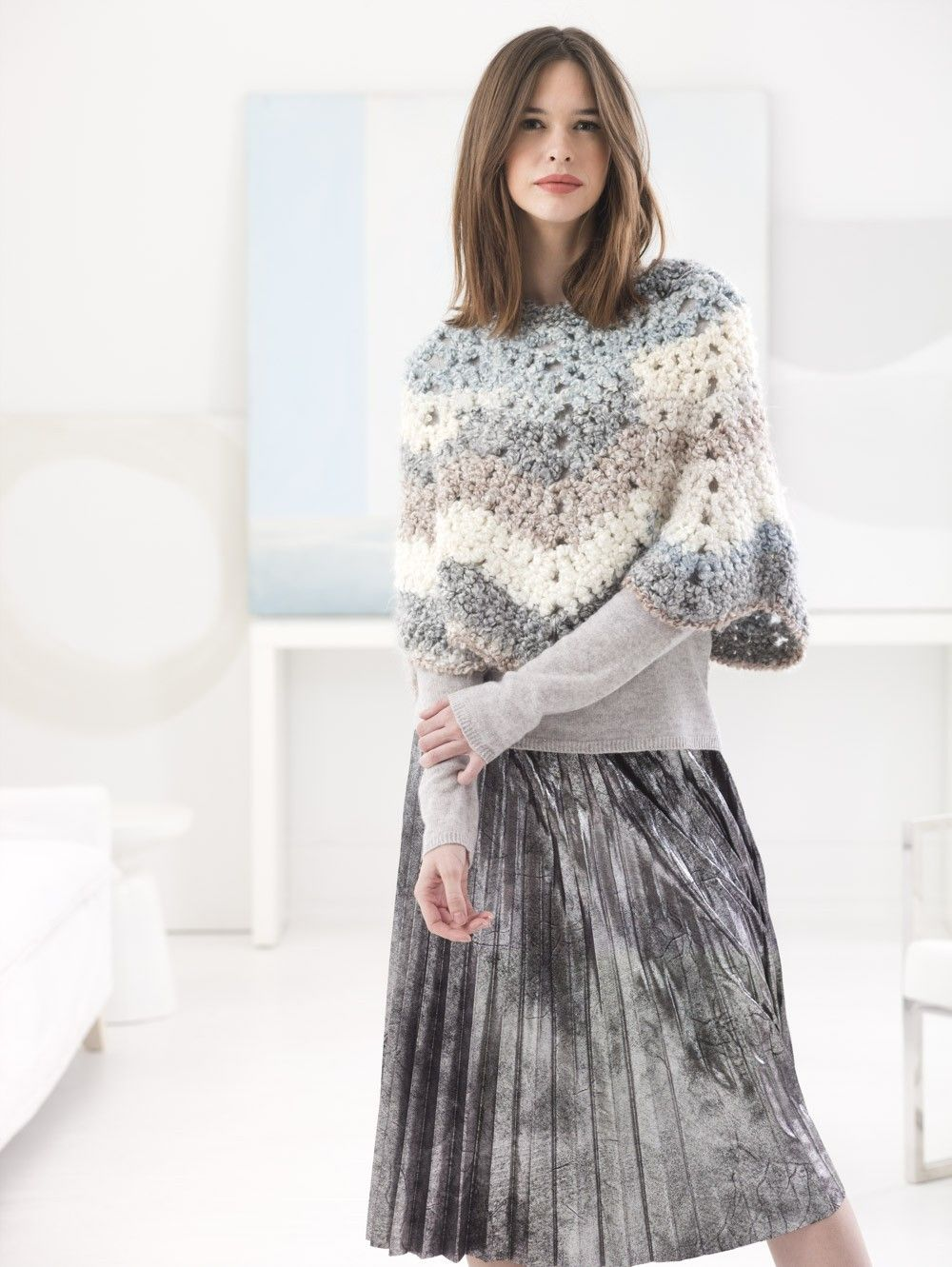 Cozy Ripple Poncho (Crochet) - Patterns - Lion Brand Yarn   PONCHO ...