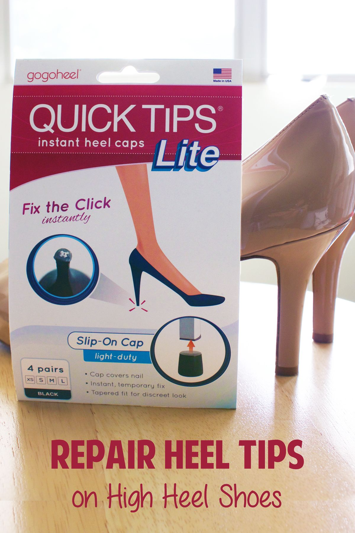 Our heel caps are a fast, easy way to repair and prevent worn high heel  tips. Perfect for those without a nearby shoe repair shop.