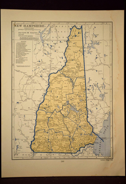 New Hampshire Map New Hampshire Beige Blue Original Vintage   The ...
