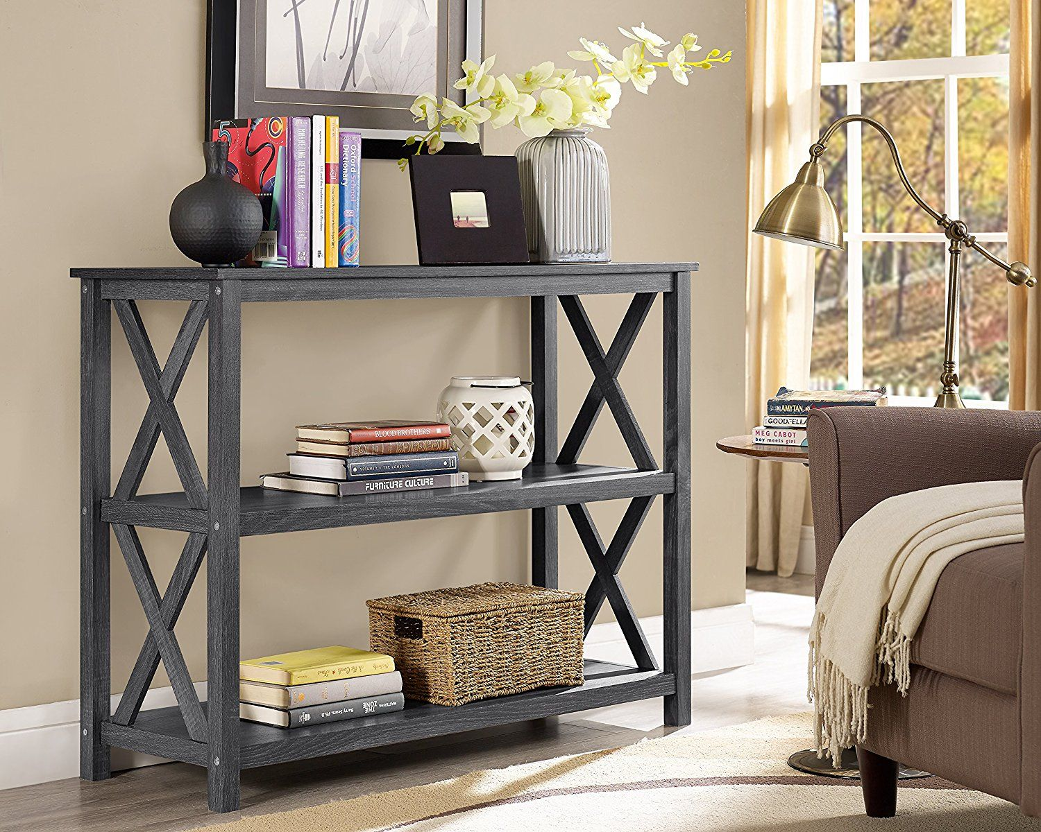 Superb Amazon.com: Weathered Grey 3 Tier Occasional Console Sofa Table Bookshelf:  Kitchen