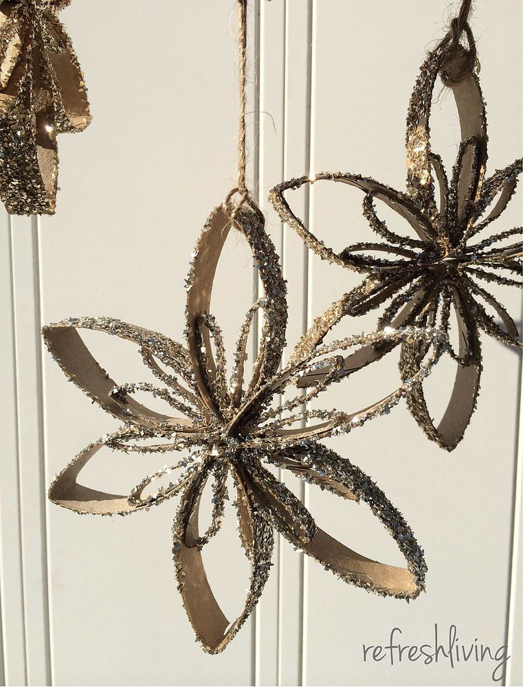 Upcycled Toilet Paper Tube Snowflake Ornaments | Snowflake ornaments ...