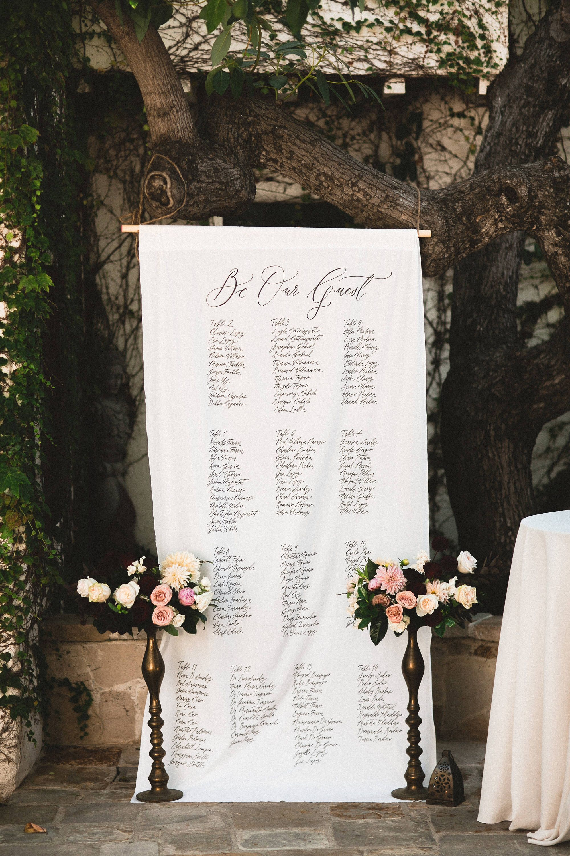 Handlettered Calligraphy Fabric Seating Chart Calligraphy Banner Backdrop By Ettiekim On Etsy Https Www Seating Chart Wedding Wedding Seating Plan Wedding