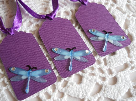 Dragonfly Baby Shower Invitation | Purple Dragonfly Gift Tags Baby Shower  Wedding Bridal Shower Tags Set .