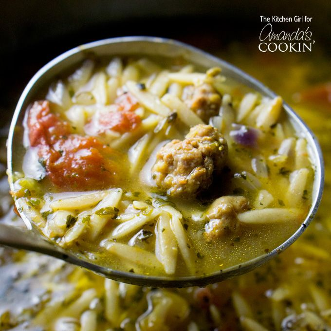 This Hearty Italian Sausage Tomato Orzo Soup Is Similar To Wedding But Lighter