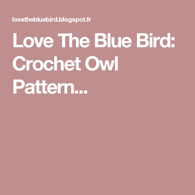 Love The Blue Bird: Crochet Owl Pattern... | Carrés au crochet ...