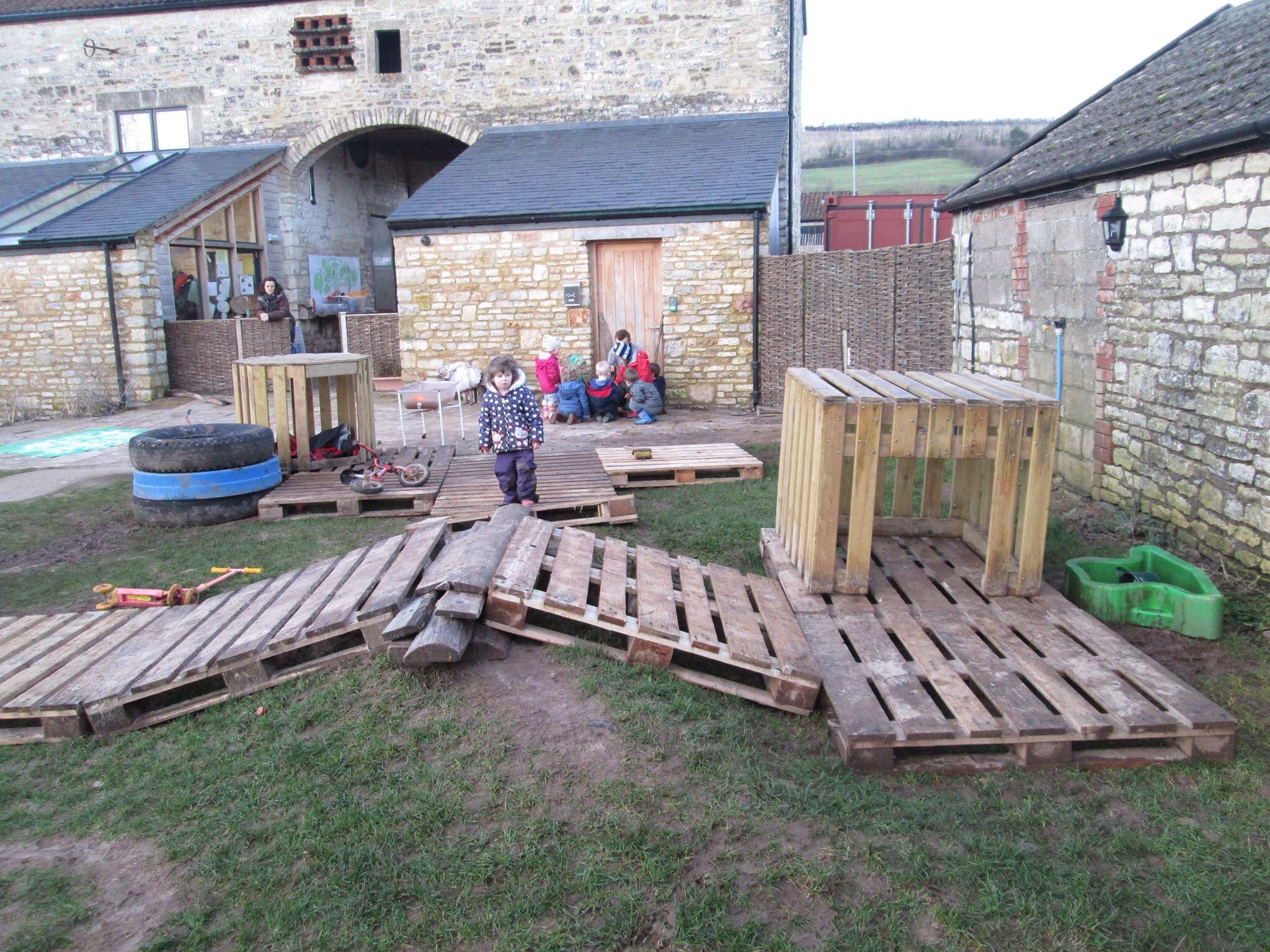 Pallet city | Outdoor nursery, Eyfs outdoor area, Outdoor ...