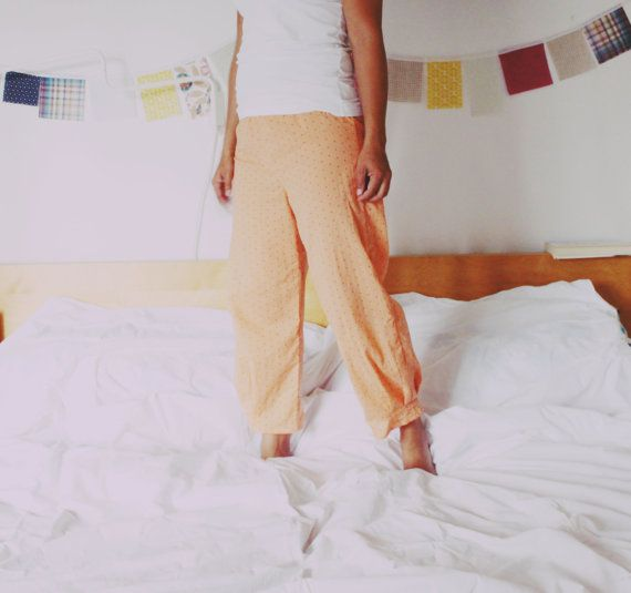 Lounge pants for women, apricot voile pajama pants, comfy bottoms. Cropped beach pants. Summer wear.
