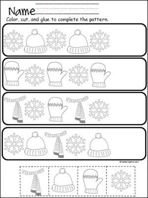 winter pattern practice cut and paste a ed k math preschool kindergarten preschool math. Black Bedroom Furniture Sets. Home Design Ideas