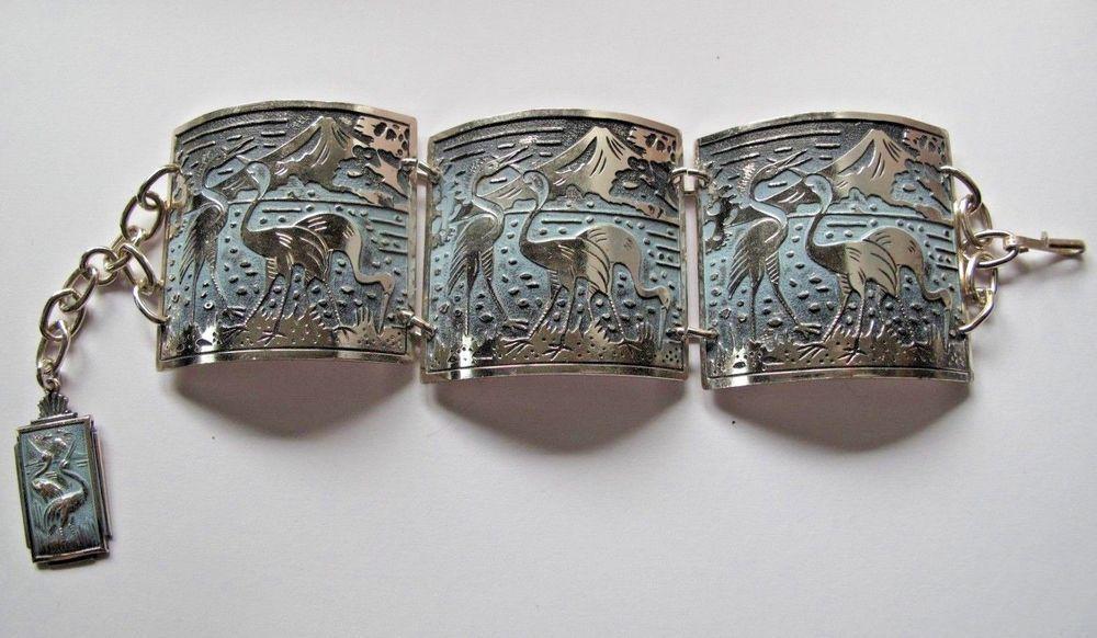 Unique Vintage Silvertone Metal Bracelet