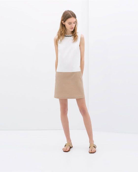 TWO - TONE DRESS WITH EMBELLISHED NECKLINE - Dresses - WOMAN | ZARA United States