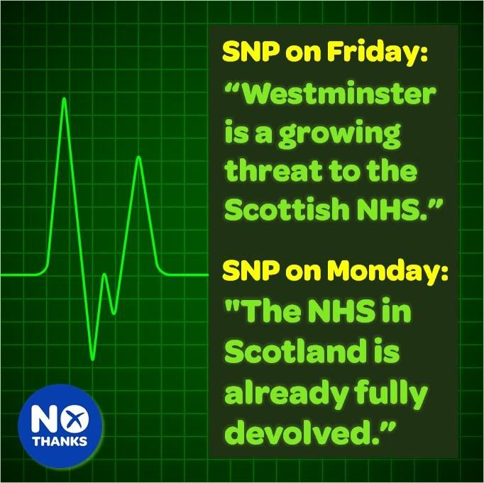 What a difference a weekend makes. Last week Alex Salmond was telling us that the NHS would be privatised in Scotland, today the SNP admit (the obvious truth) that the NHS is devolved to the Scottish Parliament.