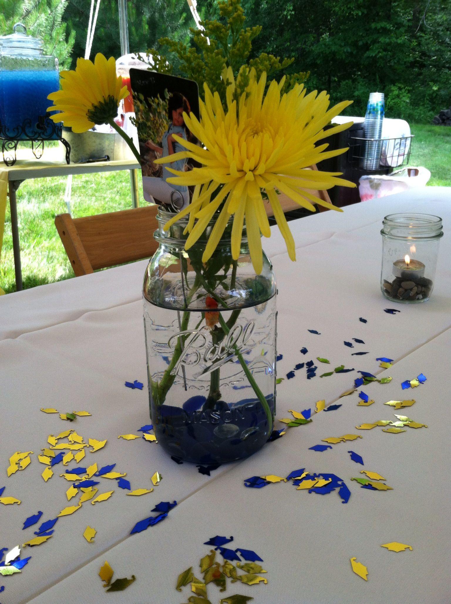 Graduation party mason jar flower u goldfish centerpiece to