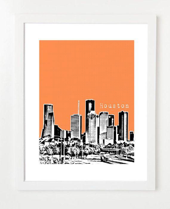 Houston poster texas state city art print skyline poster 8x10 on etsy 20 00