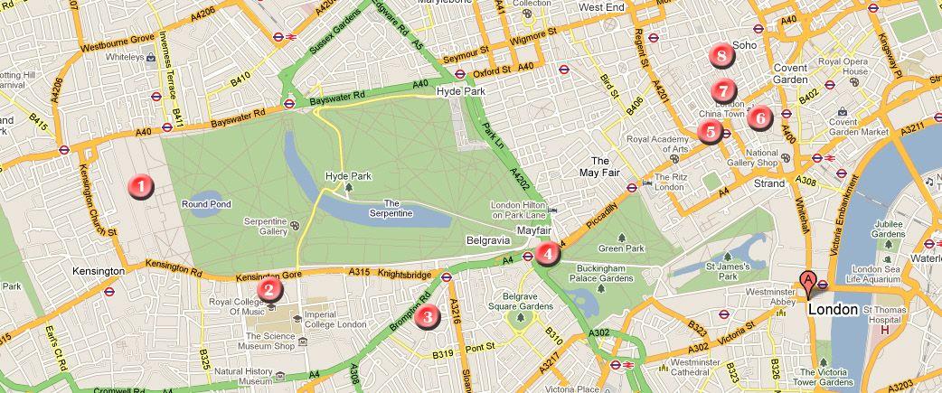 Mapa De La Ruta Por Londres Día 1 Londres Mapas Rutas