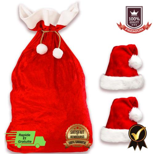 Hotte De Pere Noel Hotte de Père Noël+2 Bonnets de Père Noël Sac Cadeau En Velour