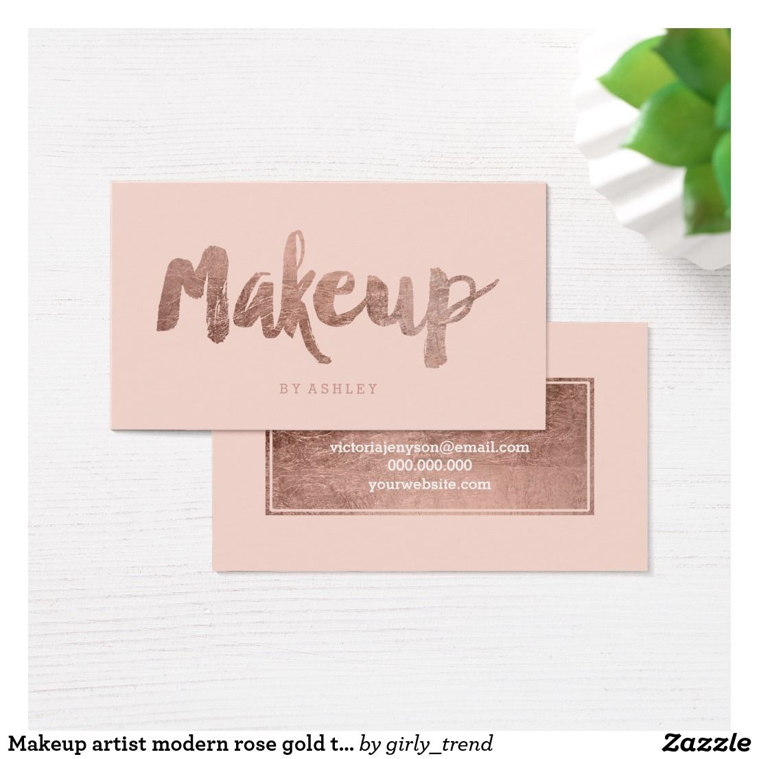 Makeup artist modern rose gold typography blush business card reheart Image collections