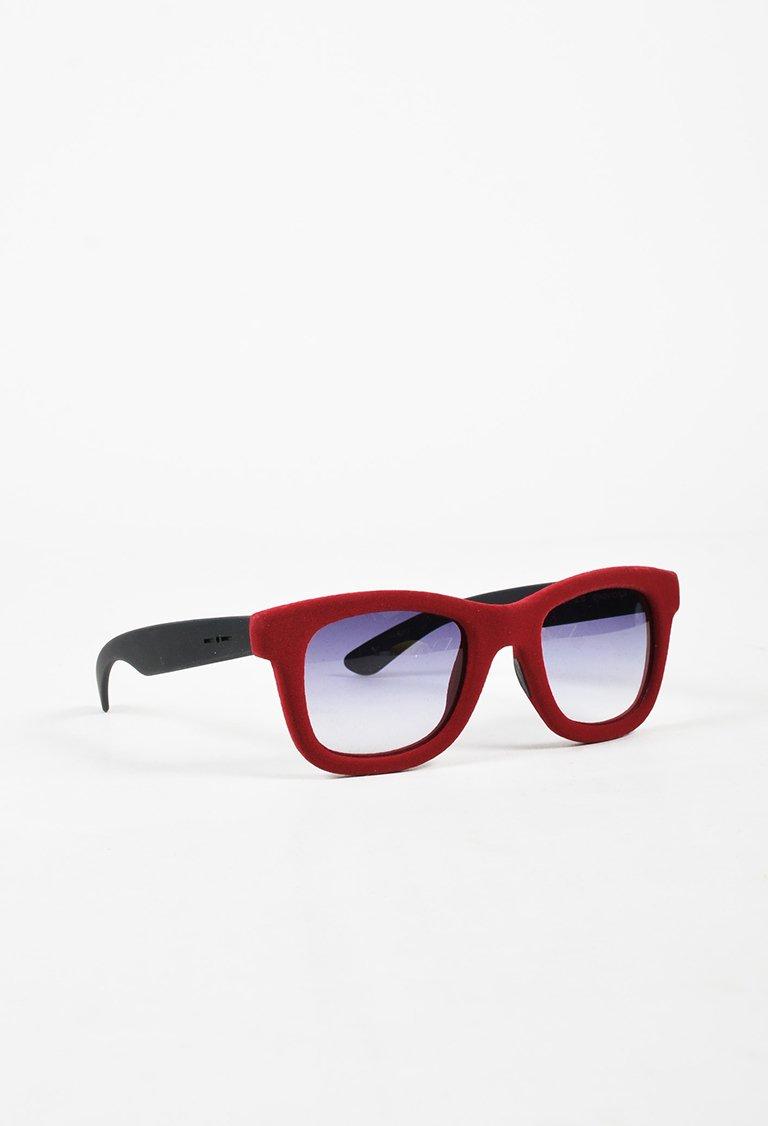2ad847d12f39 Italia Independent Red & Black Velvet Square Sunglasses | Products ...