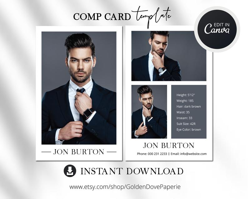 Modeling Comp Card Template Canva Template Comp Card Easy Etsy Model Comp Card Signature Logo Design Card Template