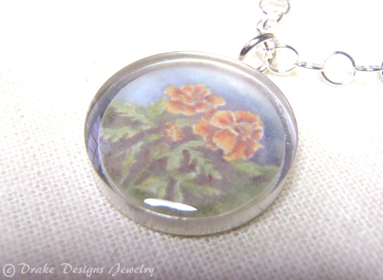Birth Month Flower Necklace October Sterling Silver Watercolor with Mea