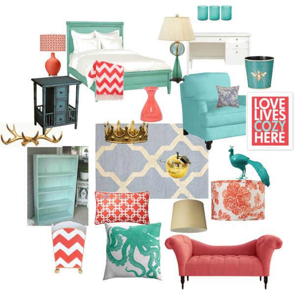 Coral, Turquoise And Gray Room