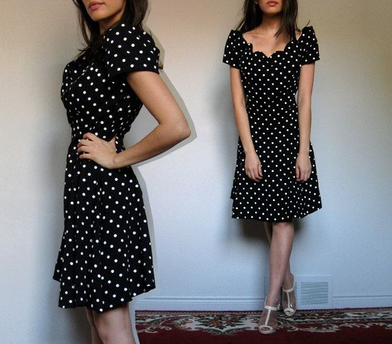Polka Dot Dress Black White Flared