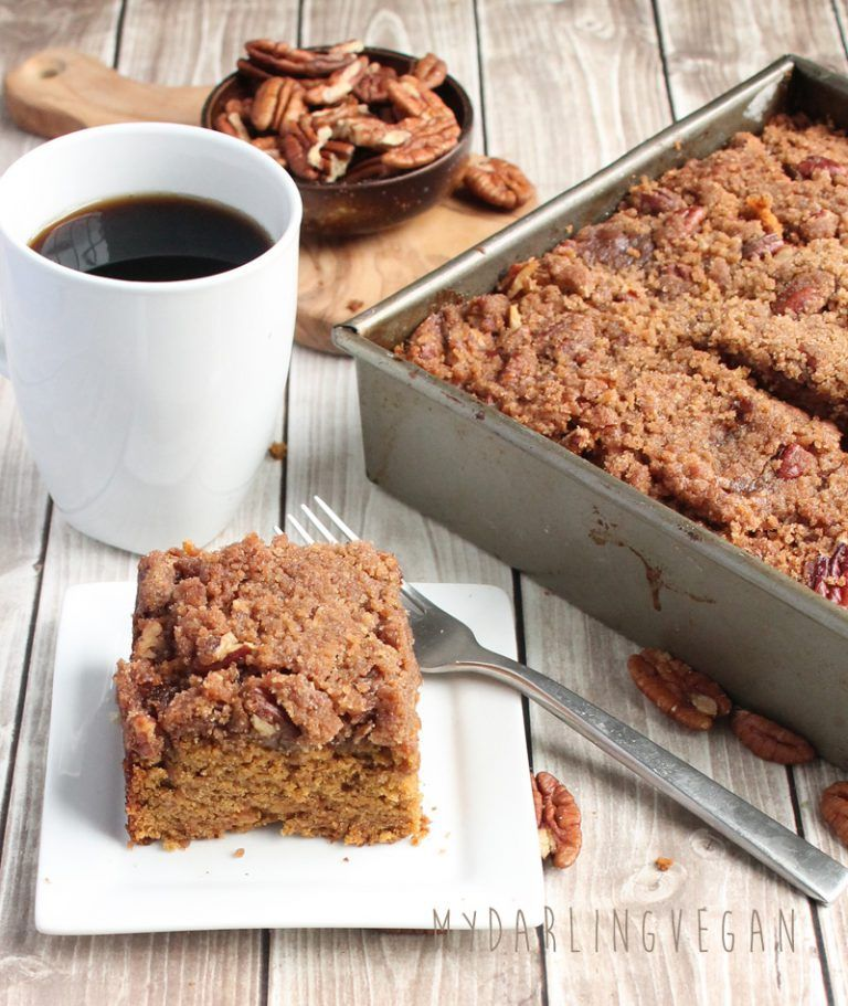 Vegan Coffee Cake with Pumpkin and Pecan Streusel This