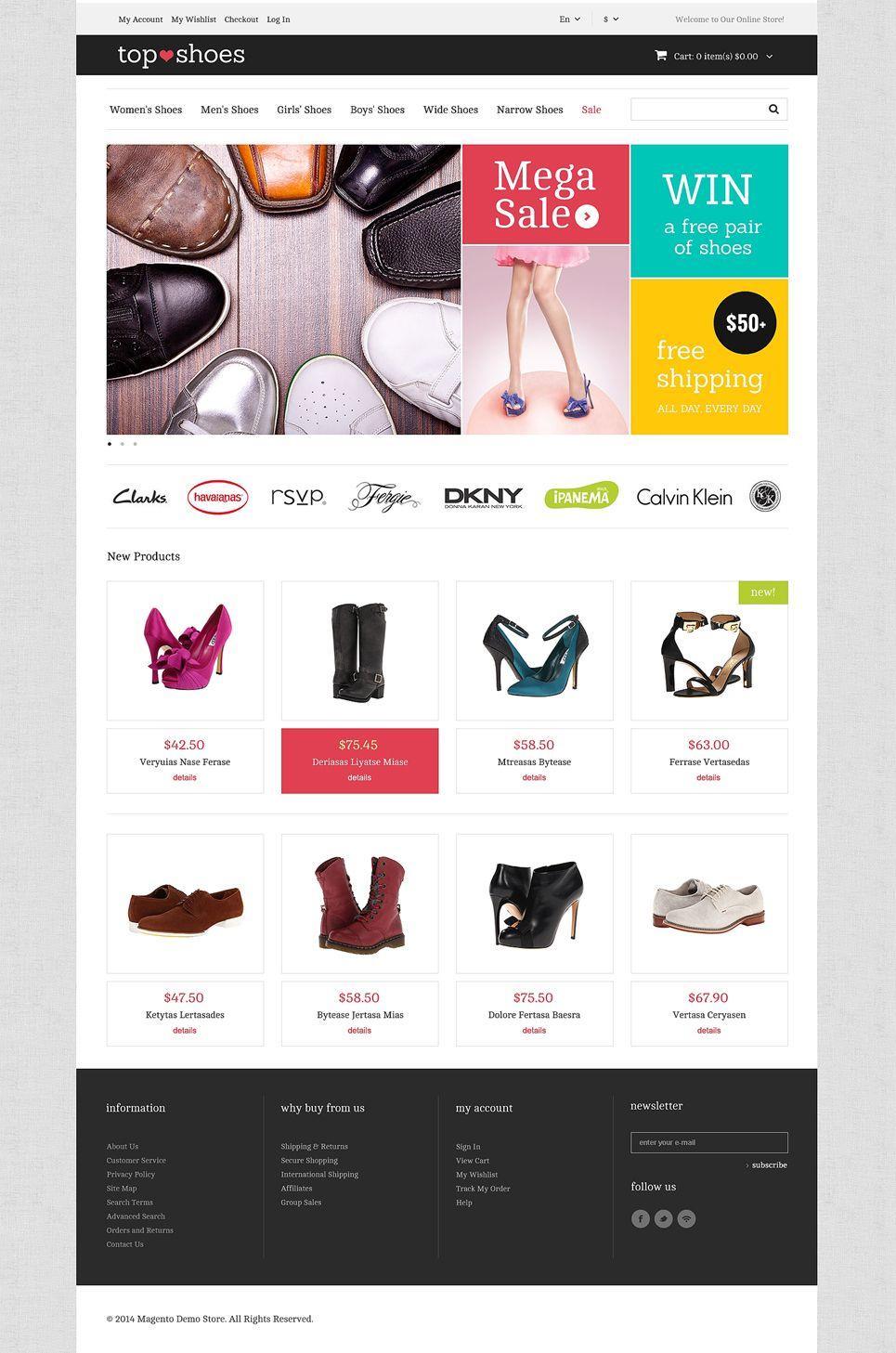 Top Shoes Shop Magento Theme #Shoes