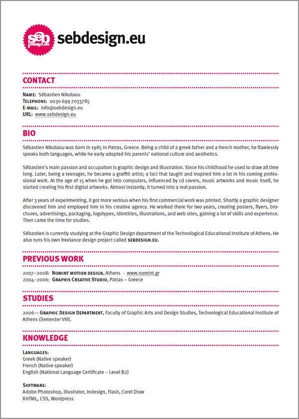 Origineel cv Originele cvu0027s Pinterest Curriculum, Resume - layout of a resume