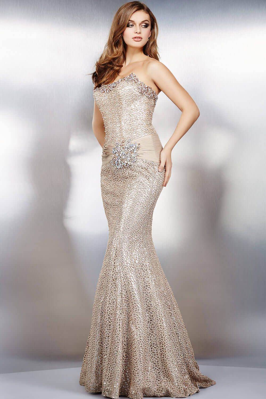 Stunning beige strapless mermaid dress features crystal